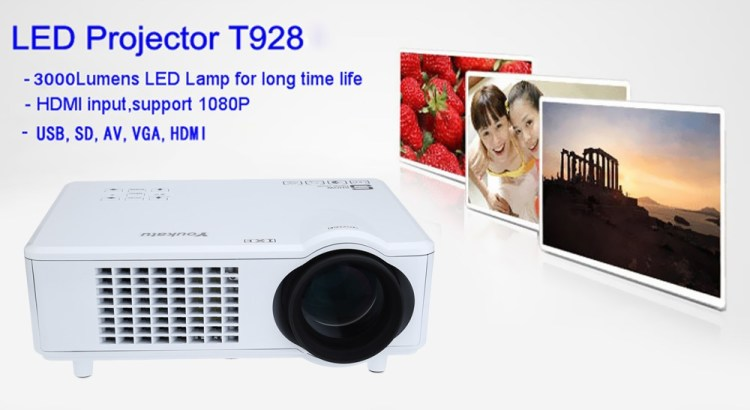 Youkatu T928   LCD Projector 3000LM 1280*768 FHD 1080P Media Player UK   White price on jumia Nigeria via specspricereview.com