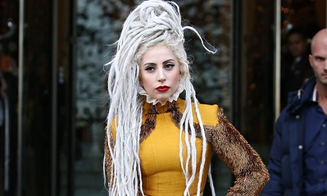 Singer Lady Gagy with long silver dreadlocks