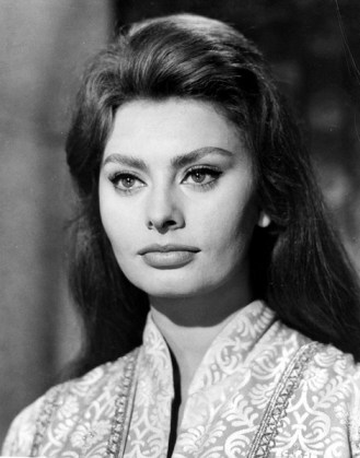 BW pic of dark-haired, large-eyed actress Sophia Loren--'60s icon.