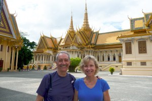 Cleft lip affected author and wife at Cambodian king's palace.