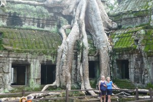 Cleft lip country? Author and wife at Ta Prohm temple at Ankor in Cambodia.