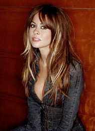 Bust shot of Brooke Burke,,long hair, black top,  a Cleft Lip Fan, Avenaim, '03