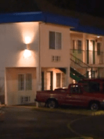 Tan 2-story motel where Serial killer botches her 1st attempt.