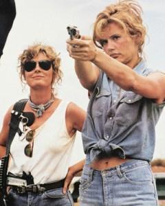 Medium shot of Thelma & Louise wirth guns.