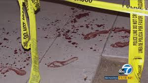 Required tool: Yellow Crime Investigation tape around blodd footprints on white floor.