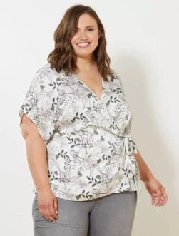 Kimono fluide effet satiné blanc Grande taille femme
