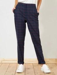 Pantalon droit à carreaux bleu marine Femme