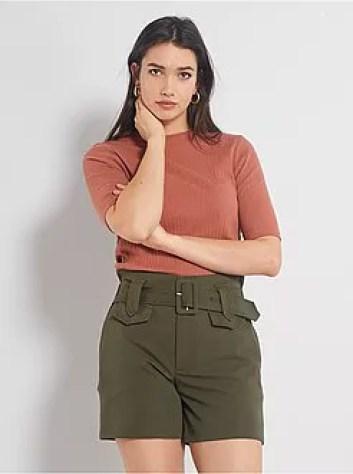 Shorts con vita alta con cintura - Kiabi