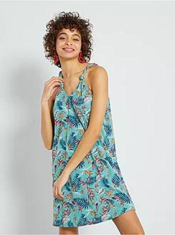 Vestito corto stampa tropicale - Kiabi