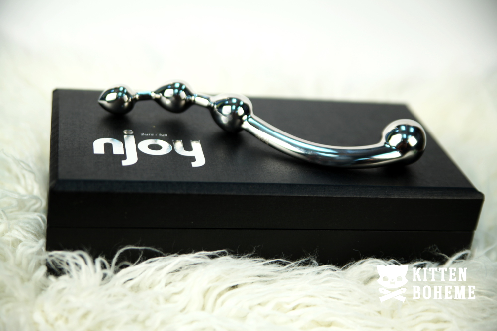 Njoy Fun Wand Stainless Steel Double Ended Dildo with Storage Box