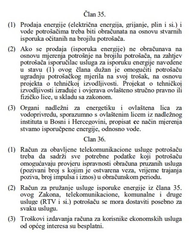 Član 36. Zakona o zaštiti potrošača