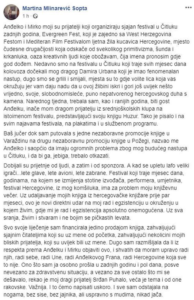 Martinina objava na Facebooku