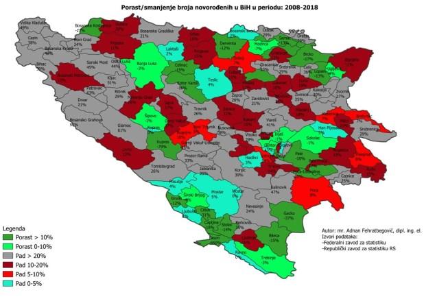 Novorođeni u BiH u periodu 2008-2018. godina, po općinama<br />