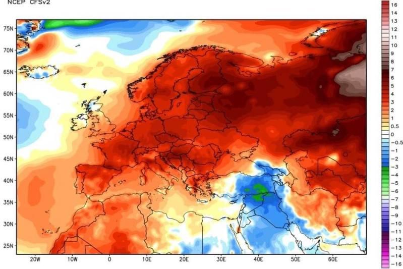 Natprosječna toplota u prvih 15 dana februara mjeseca nad prostorom Evrope.