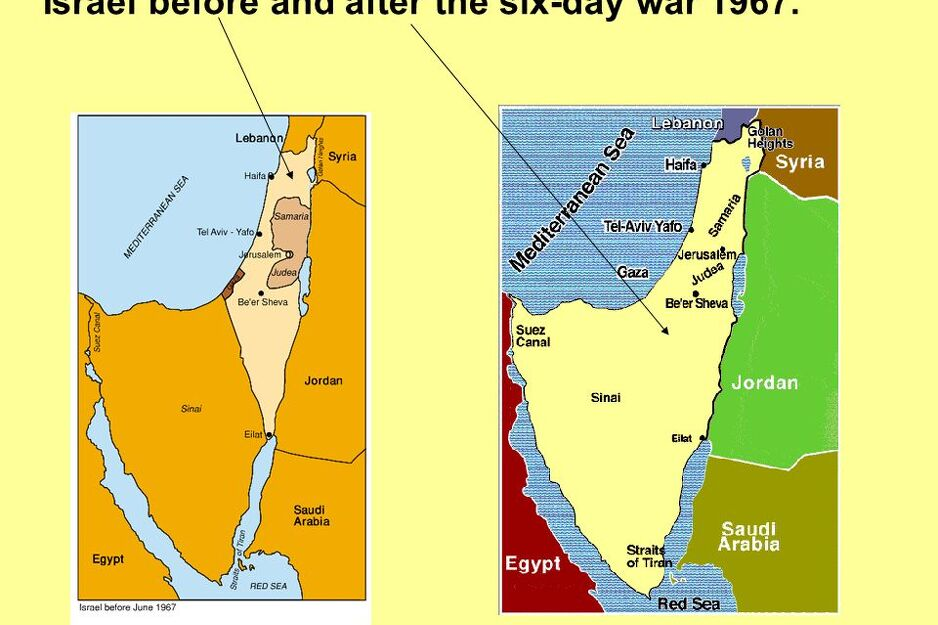 Teritorija Izraela nakon prije i nakon Šestodnevnog rata (Foto:Twitter)