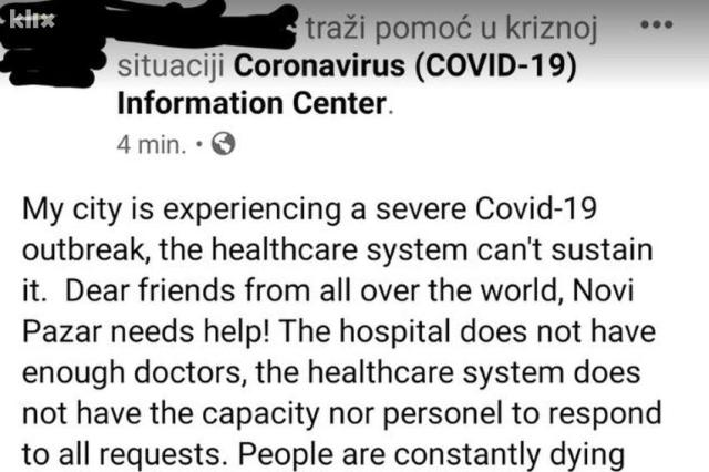 Građani Novog Pazara zbog korone koriste Facebook za poziv u pomoć, vlast smiruje situaciju