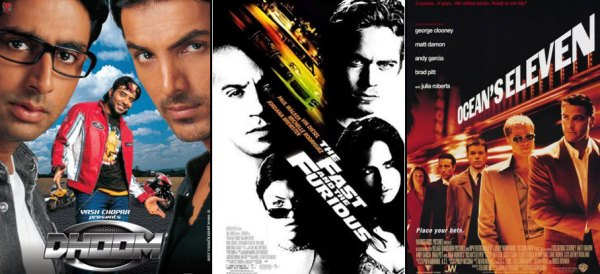 Dhoom (2003), The Fast and the Furious (2001) & Ocean's Eleven (2001) Movie Poster