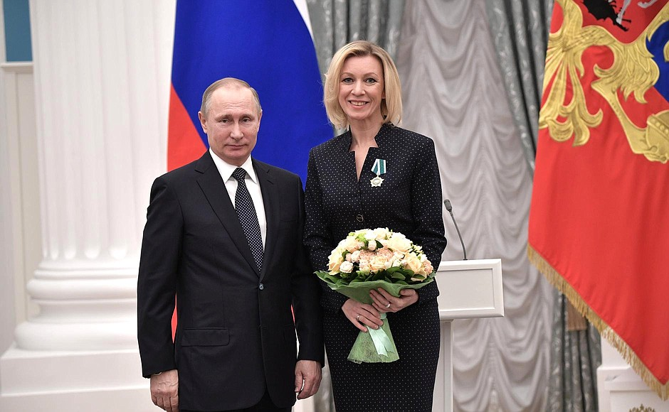 Presentation ofstate decorations. Maria Zakharova, director oftheRussian Foreign Ministry Press andInformation Department, is awarded theOrder ofFriendship.