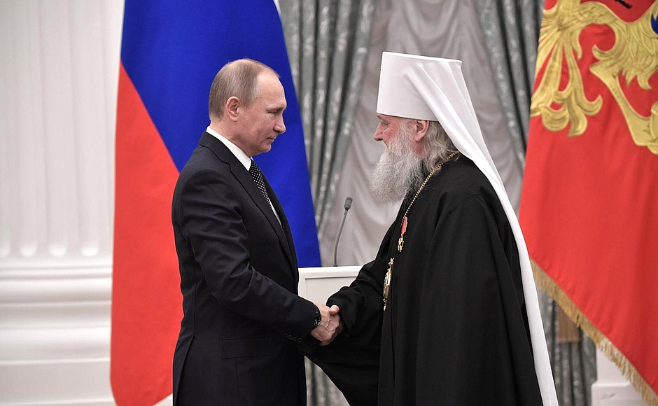 Presentation of state decorations. Metropolitan Panteleimon of Yaroslavl and Rostov is awarded the Order of Alexander Nevsky.