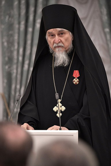 Presentation of state decorations. Archimandrite Tikhon, head of The Holy Dormition Pskovo-Pechersky Monastery, is awarded the Order of Alexander Nevsky.