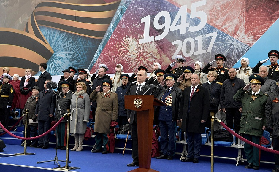 At the military parade marking the 72nd anniversary of Victory in the 1941–45 Great Patriotic War.
