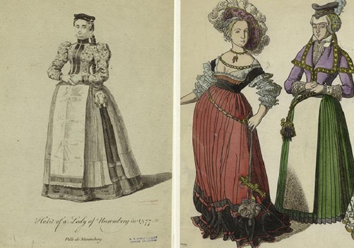 Женщины с мешочками на поясе. Изображения XVI века. | Фото: izuminki.com.