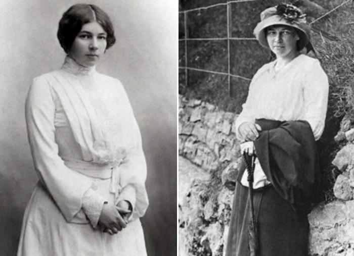 Л. Менделеева, фото 1905-1906 гг. и 1913 г., в Биаррице | Фото: liveinternet.ru и maskball.ru