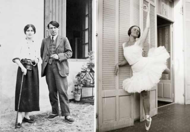 Пабло Пикассо и Ольга Хохлова, 1918 и 1925 гг. | Фото: artchive.ru