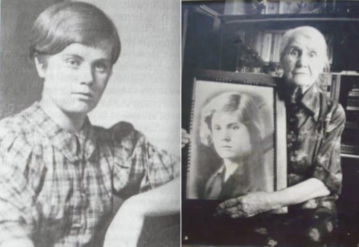 Героиня войны и ее мать с портретом дочери | Фото: dnevniki.ykt.ru