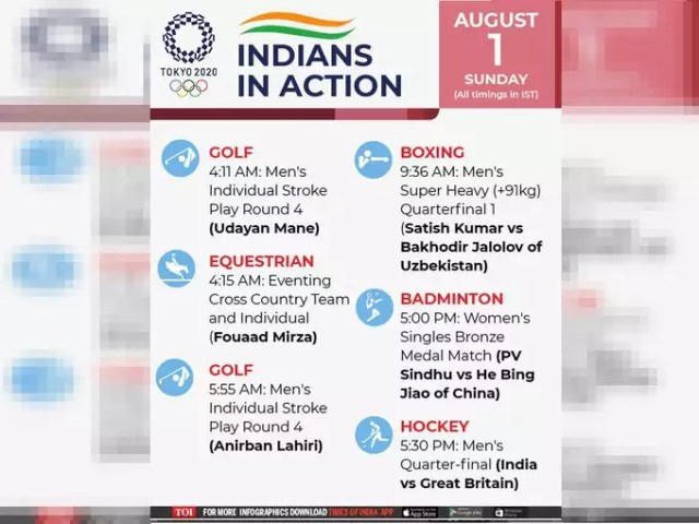 olympic schedule india 1 august