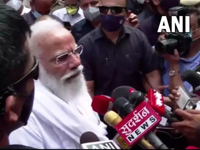 PM Narendra Modi talking to the media