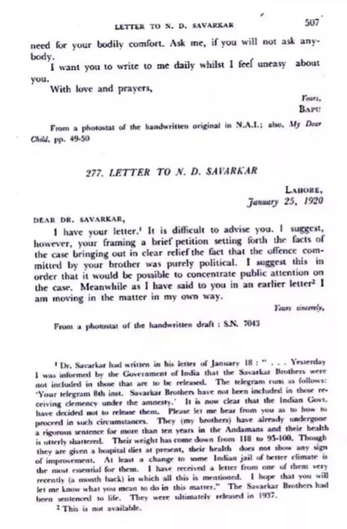 Gandhi-Letter-To-ND-Savarkar