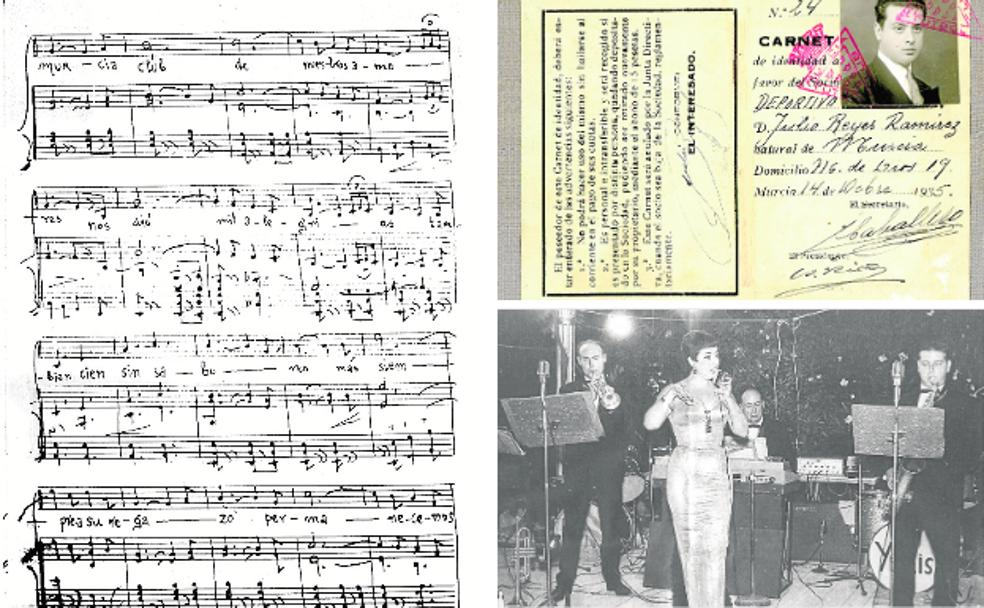 Score written by teacher Julián Santos.  |  Murcia de Julio Reyes membership card from 1935. | The teacher Julián Santos, in the background, with Los Yulis in the 60s.