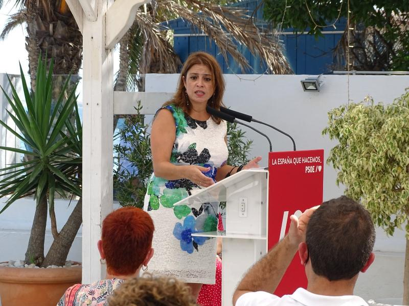 Adriana Lastra, number two of the PSOE, in an act in Murcia this weekend.