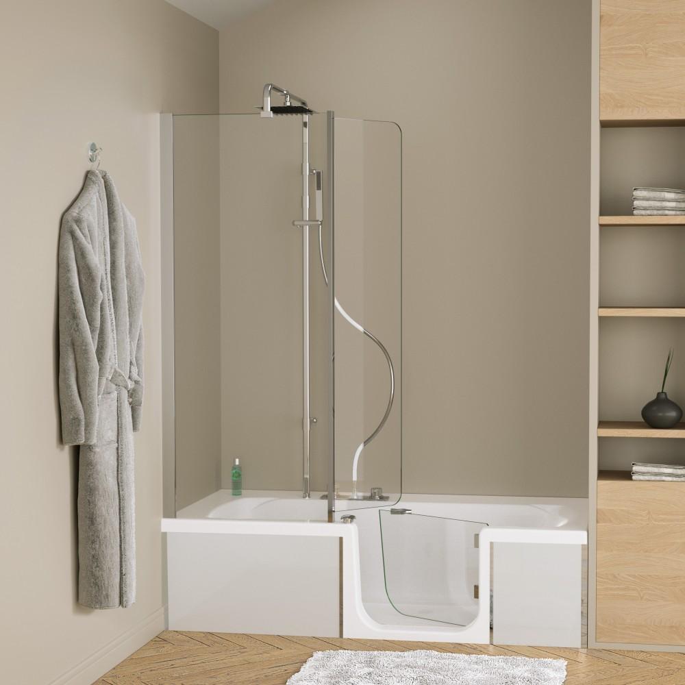 pare baignoire combine baignoire douche robinetterie duo design 3