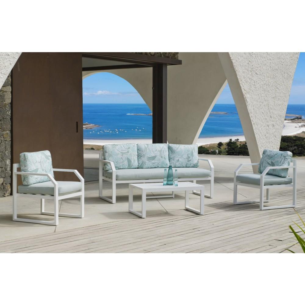 salon de jardin aluminium blanc amza indoor outdoor sur bricozor