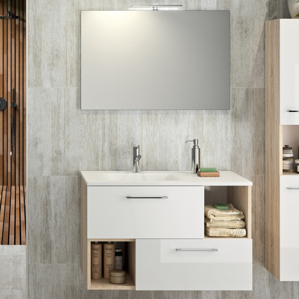 Meuble De Salle De Bains Et Miroir 90 Cm Mino Chene Naturel Bathdesign Bricozor