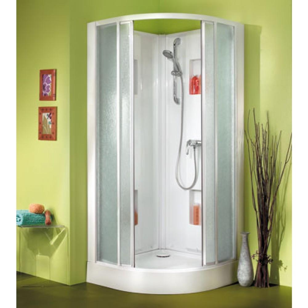 cabine de douche 1 4 de cercle 90x90 cm