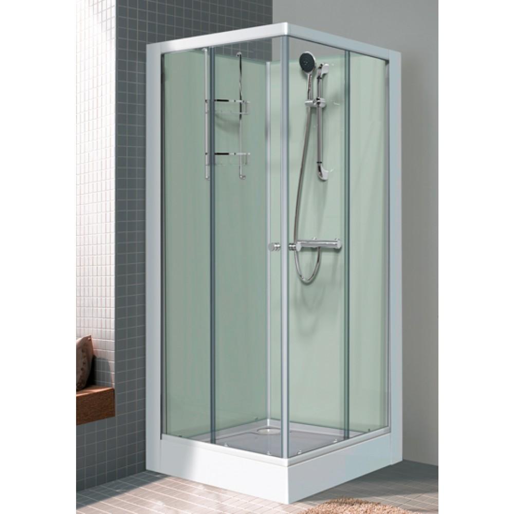 cabine de douche carre 80x80 cm portes coulissantes iziglass leda