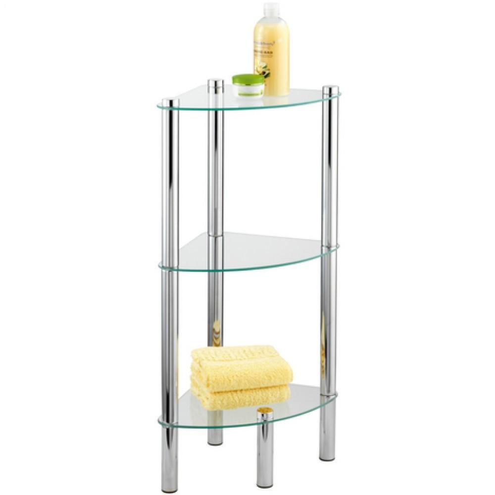 etagere de salle de bain d angle yago 3 tablettes en verre