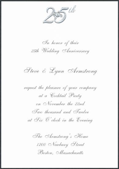 Invitation Card Silver Wedding Anniversary Sample