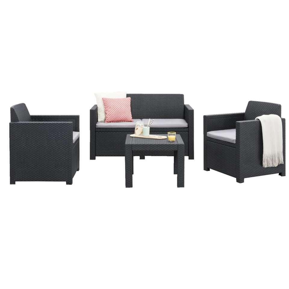 allibert salon lounge messina gris 4 pieces coussins inclus