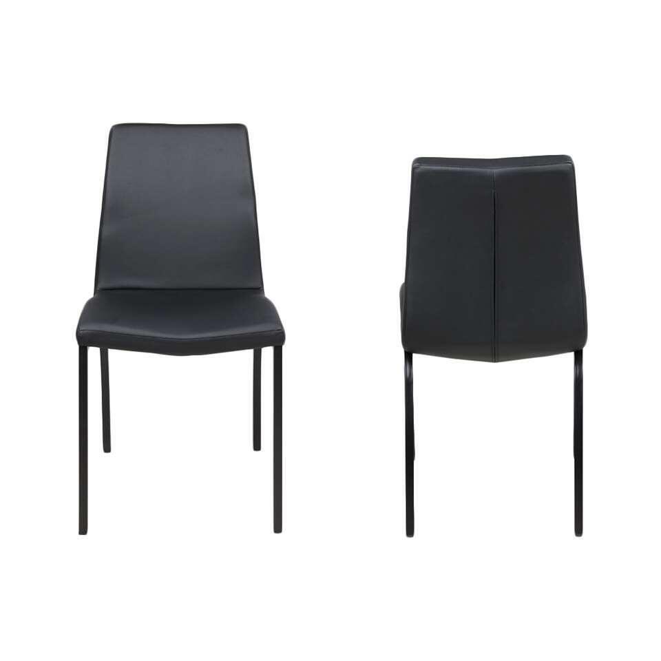 chaise de salle a manger hedegal imitation cuir noir le lot de 4