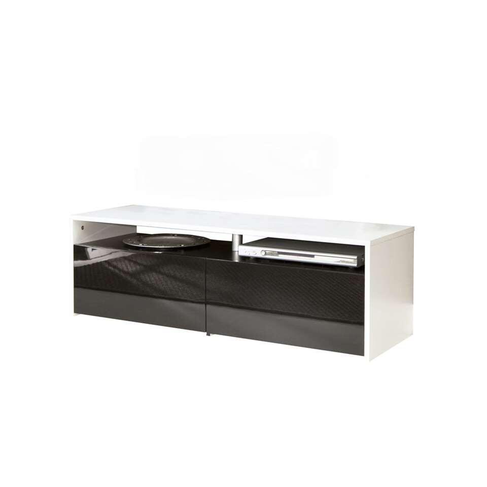 symbiosis meuble tv dalane blanc noir 37x119 4x40 cm