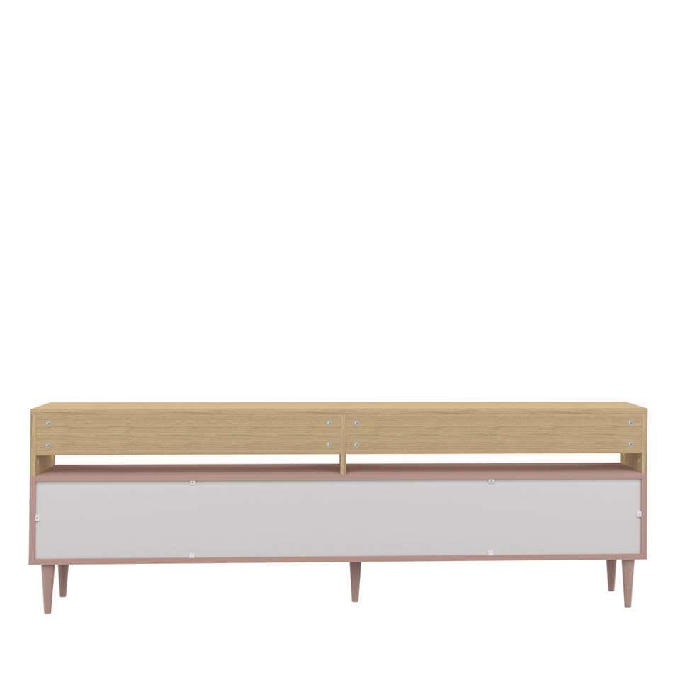 symbiosis meuble tv esby couleur chene vieux rose 60 6x180x40 cm