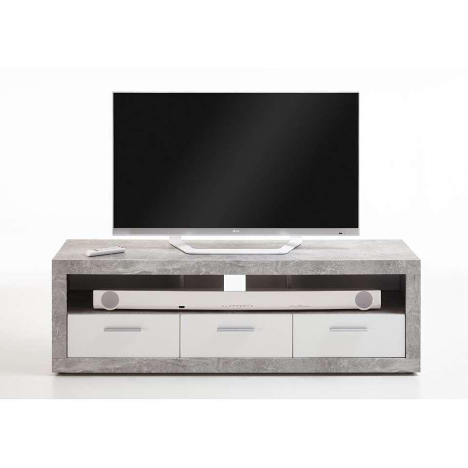 meuble tv leiston couleur beton blanc 49x152x45 3 cm