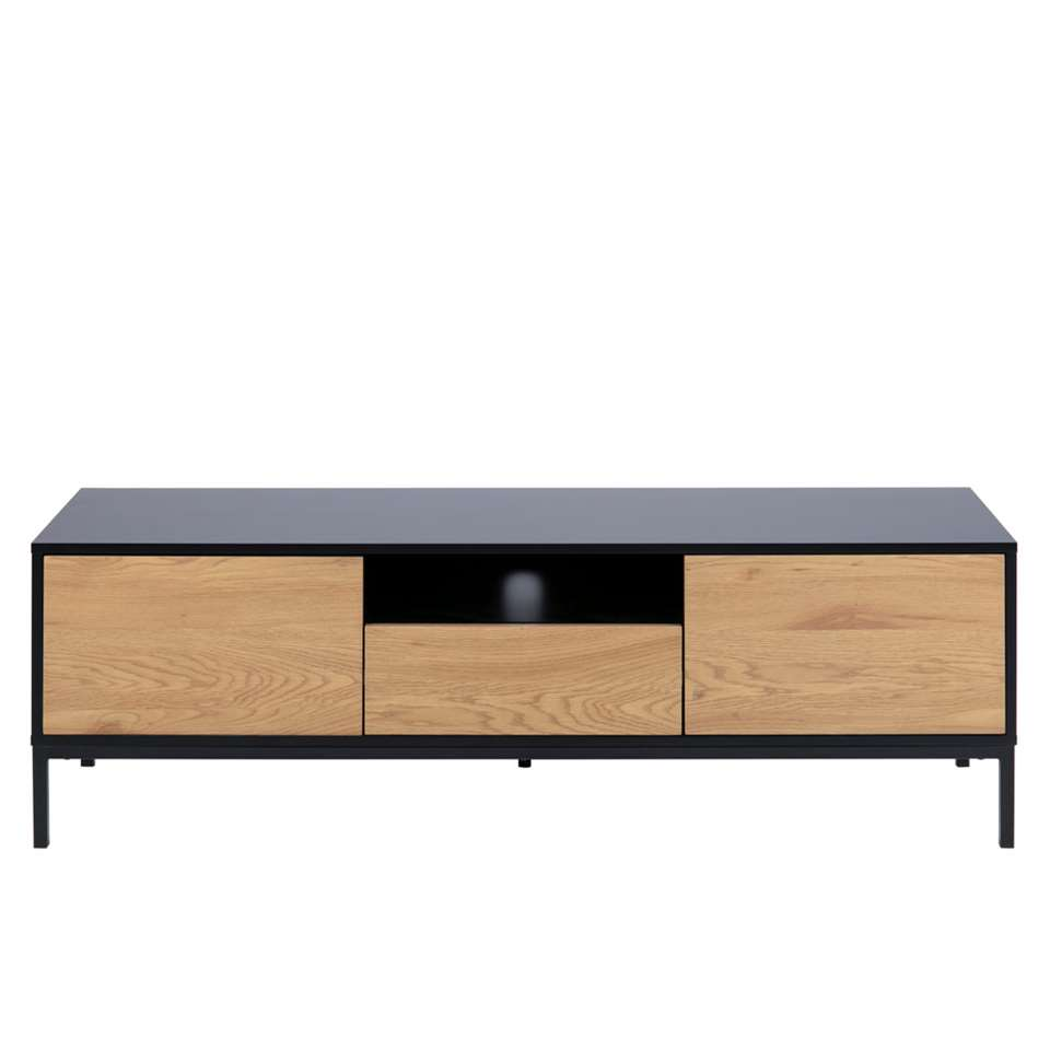 meuble tv avola noir couleur chene 45x140x40x40 cm