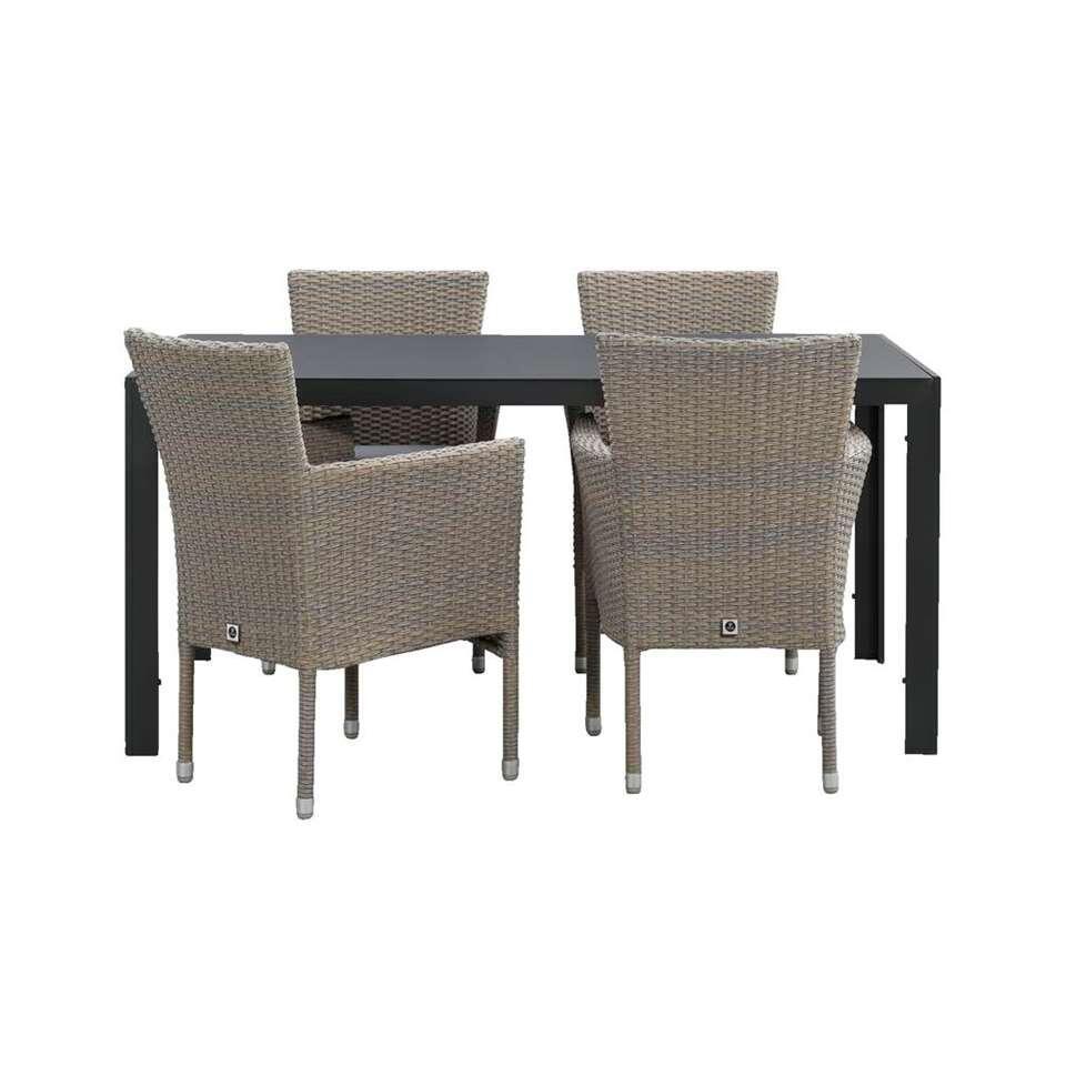 le sud salon de jardin verona chaise empilable savoie gris 5 pieces