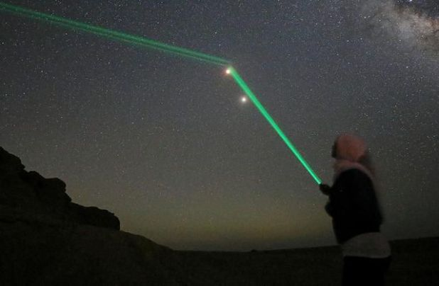 People Point Laser Lights at the