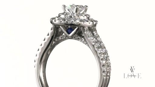 Oval Diamond Frame Engagement Ring In 14K White Gold Vera